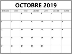 Calendrier Imprimable Octobre 2019