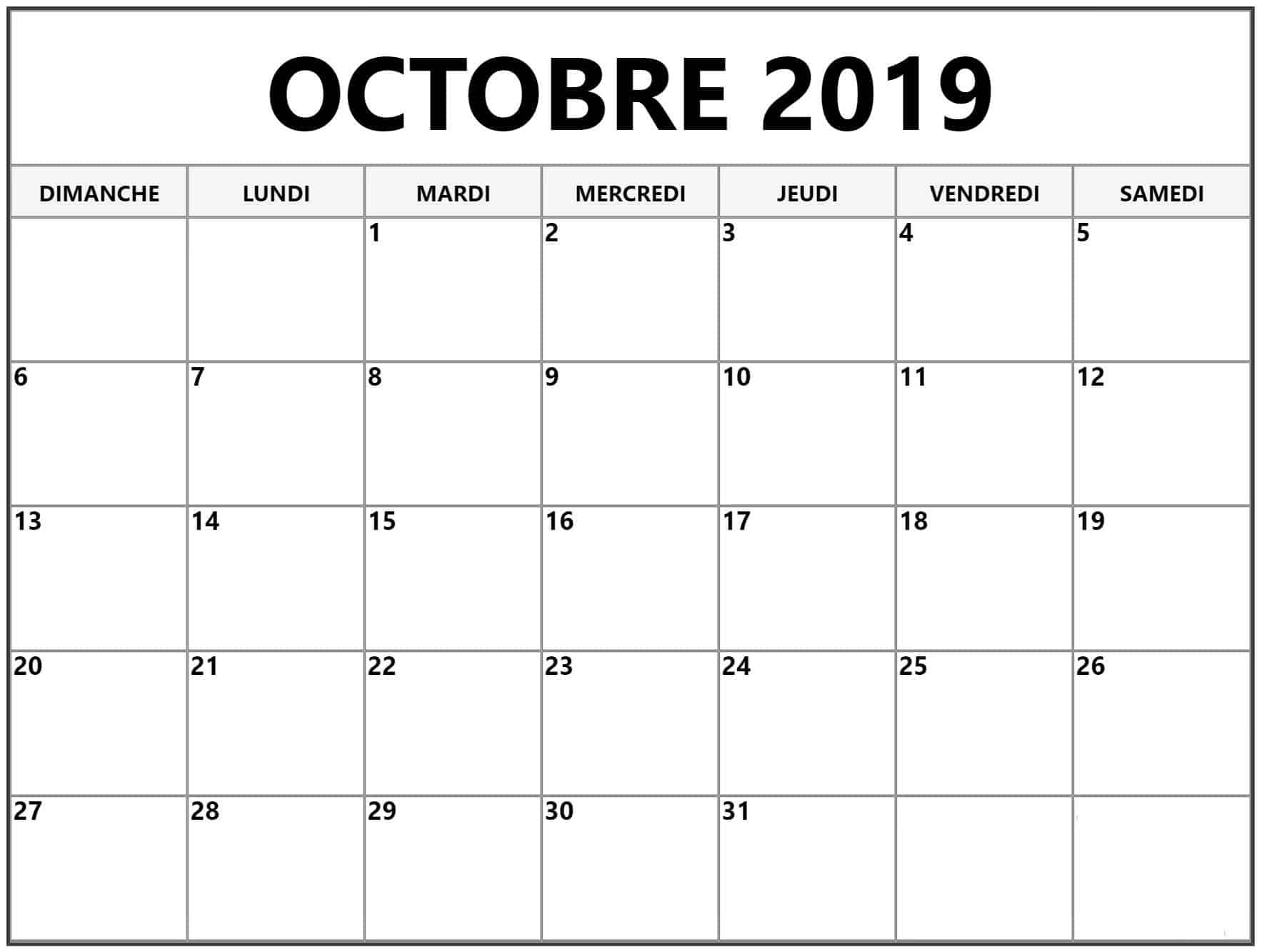 Calendrier Imprimable Octobre 2019