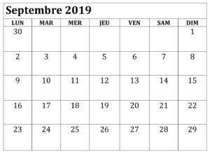 Calendrier Septembre 2019 Avec notes
