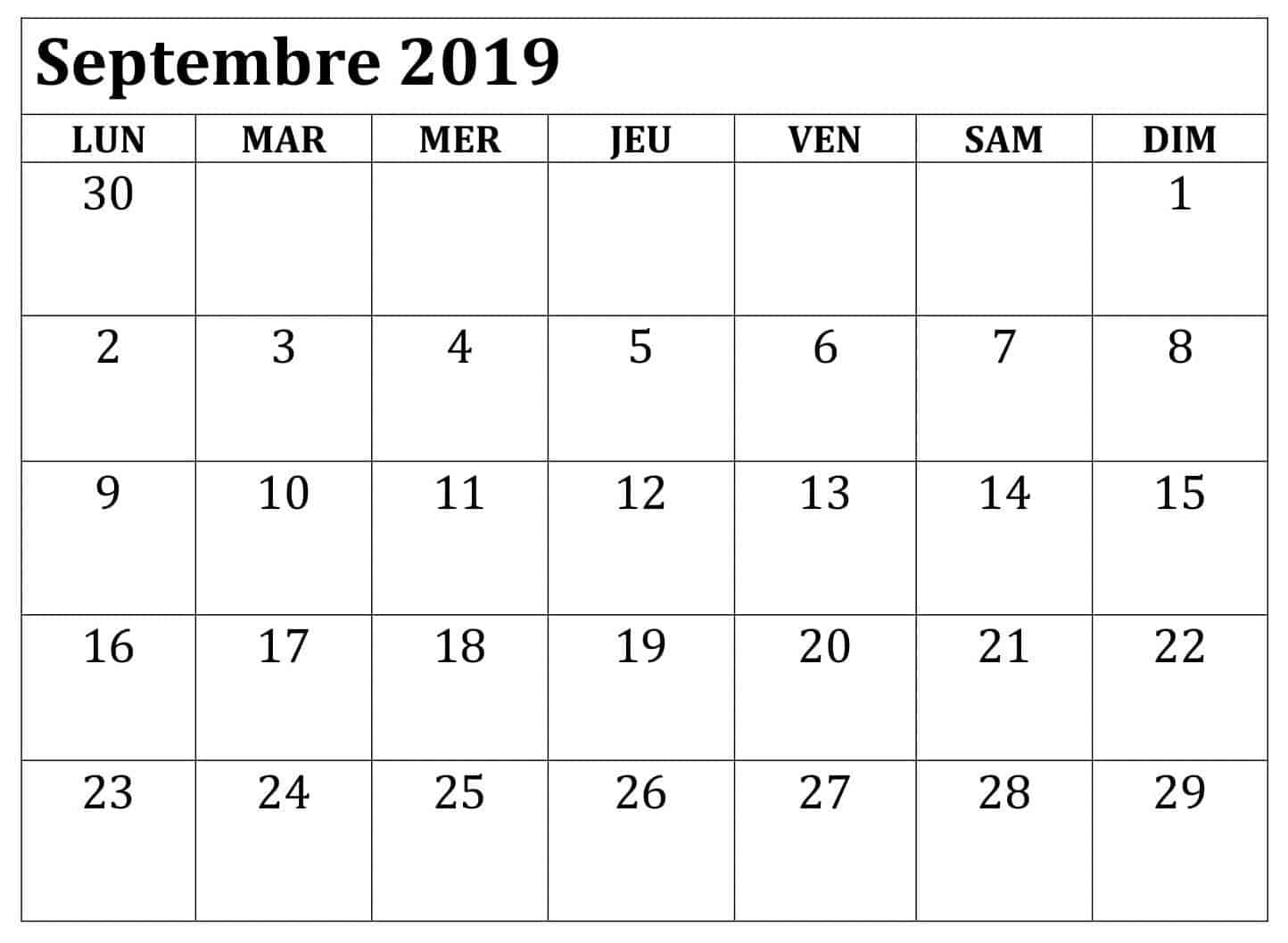 Calendrier Septembre 2019 Avec notes