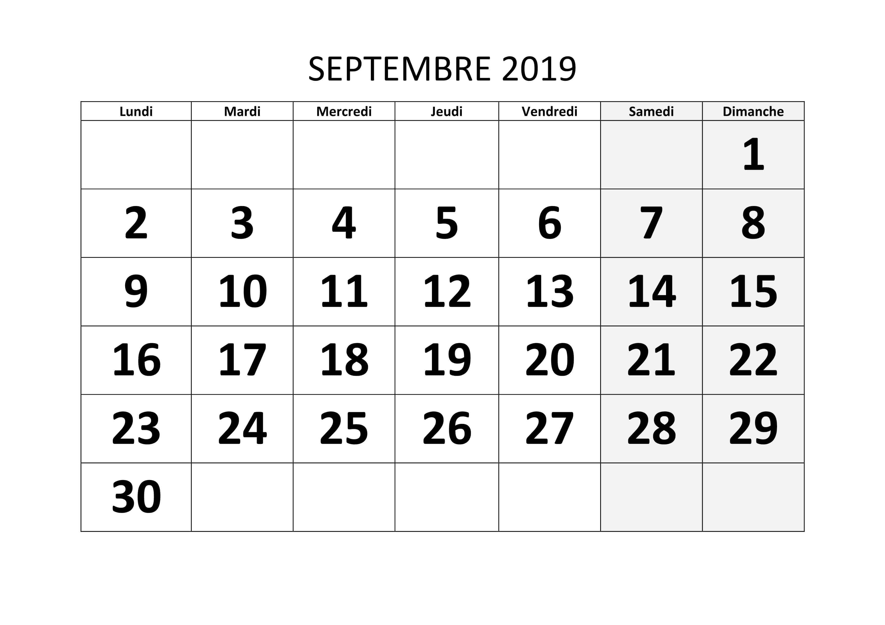 Calendrier Mensuel Septembre 2019
