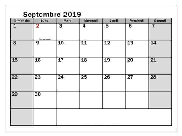 Septembre 2019 Calendrier Gratuit
