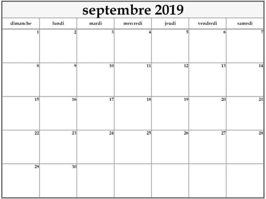 Calendrier Imprimable Septembre 2019