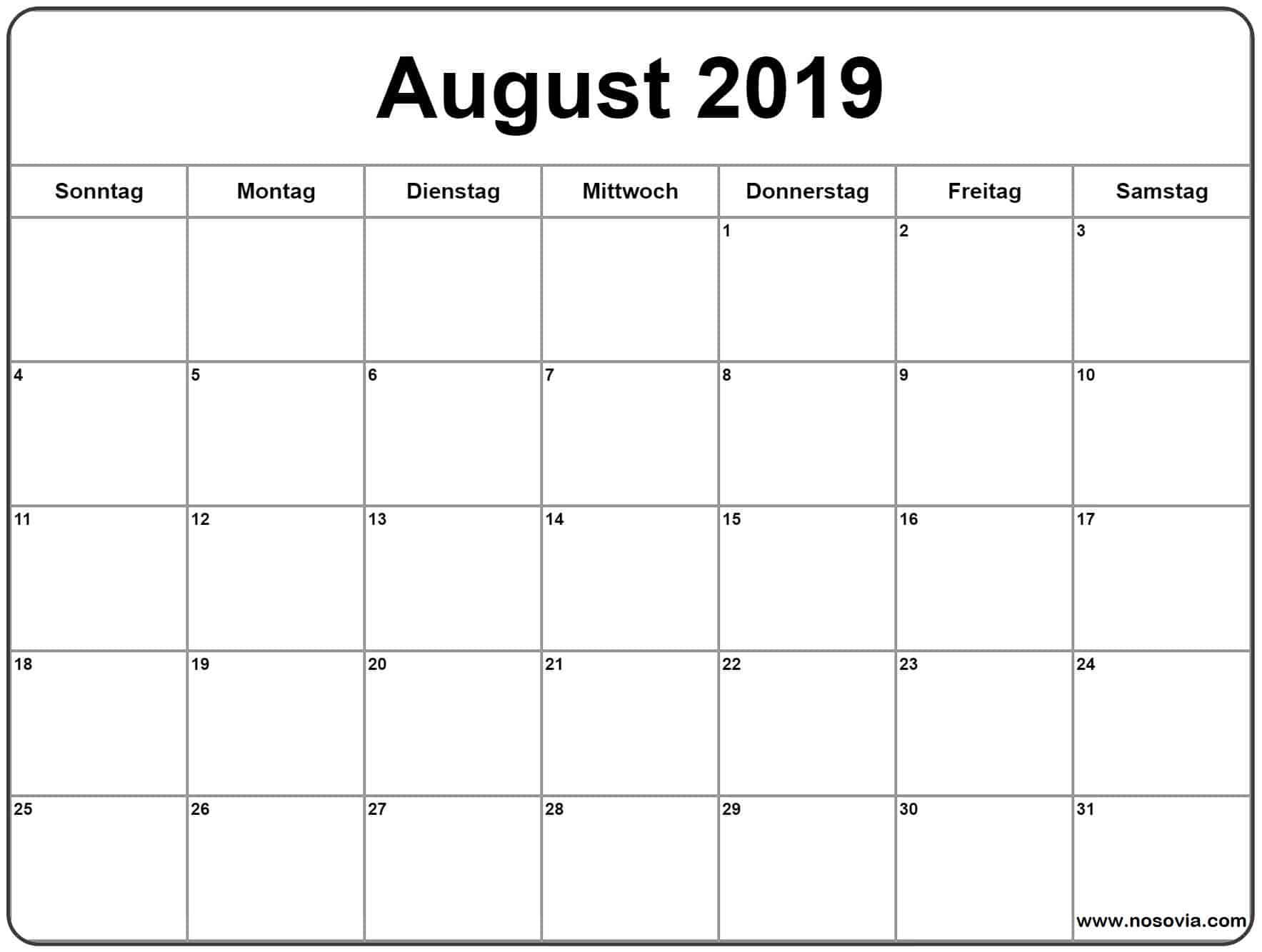 Kalender August Blatt 2019