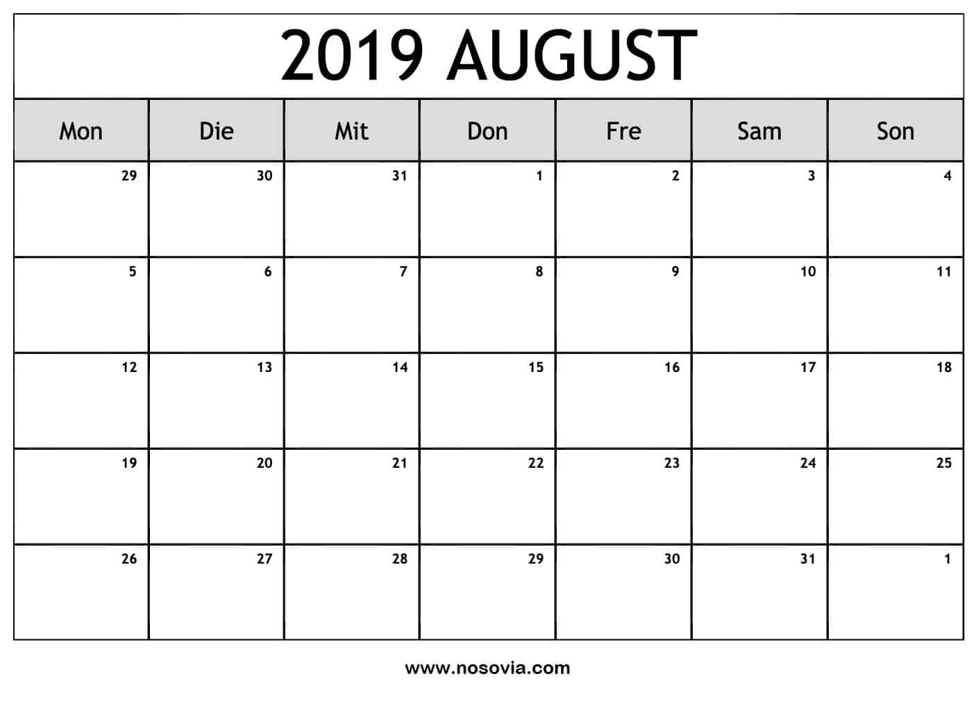 Kalender Notizen August 2019