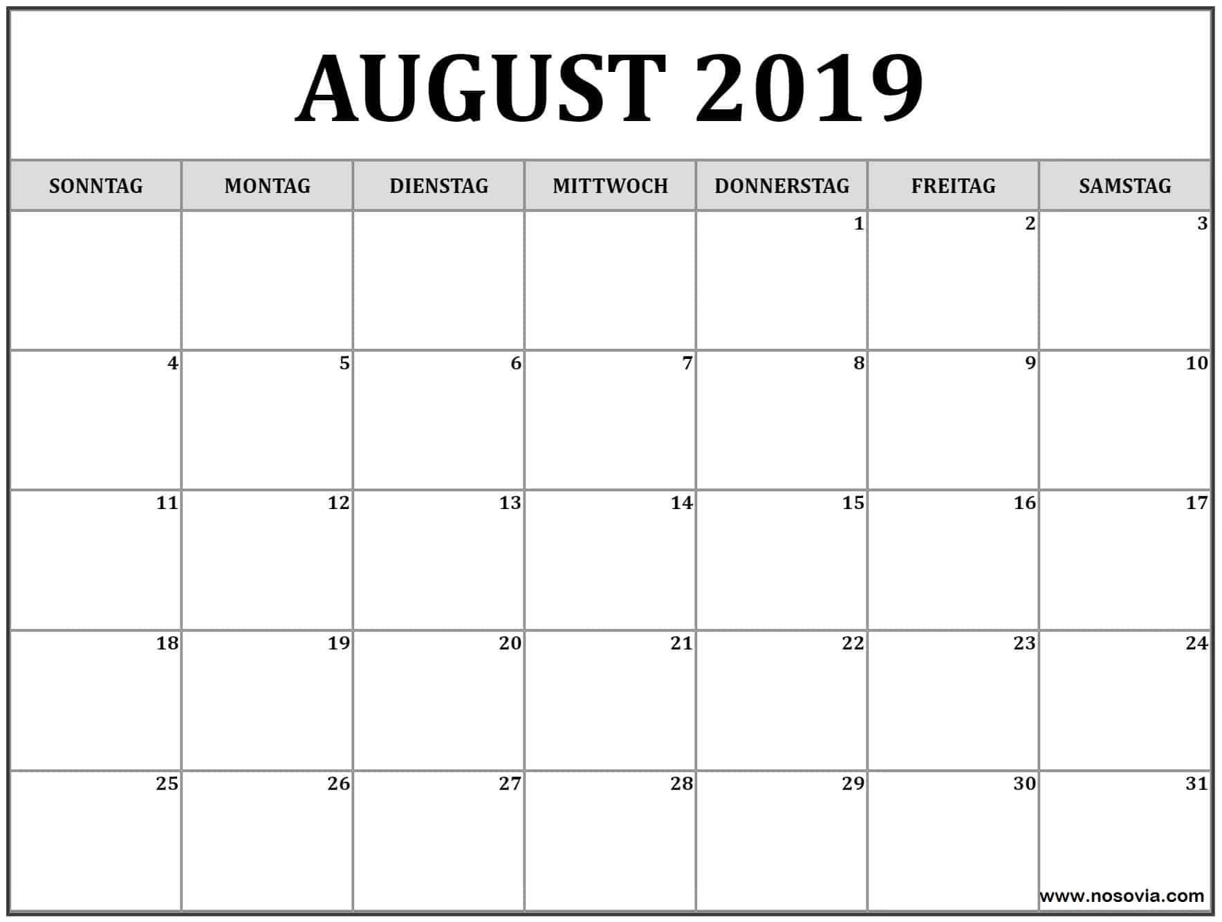 Kalender 2019 August Bild