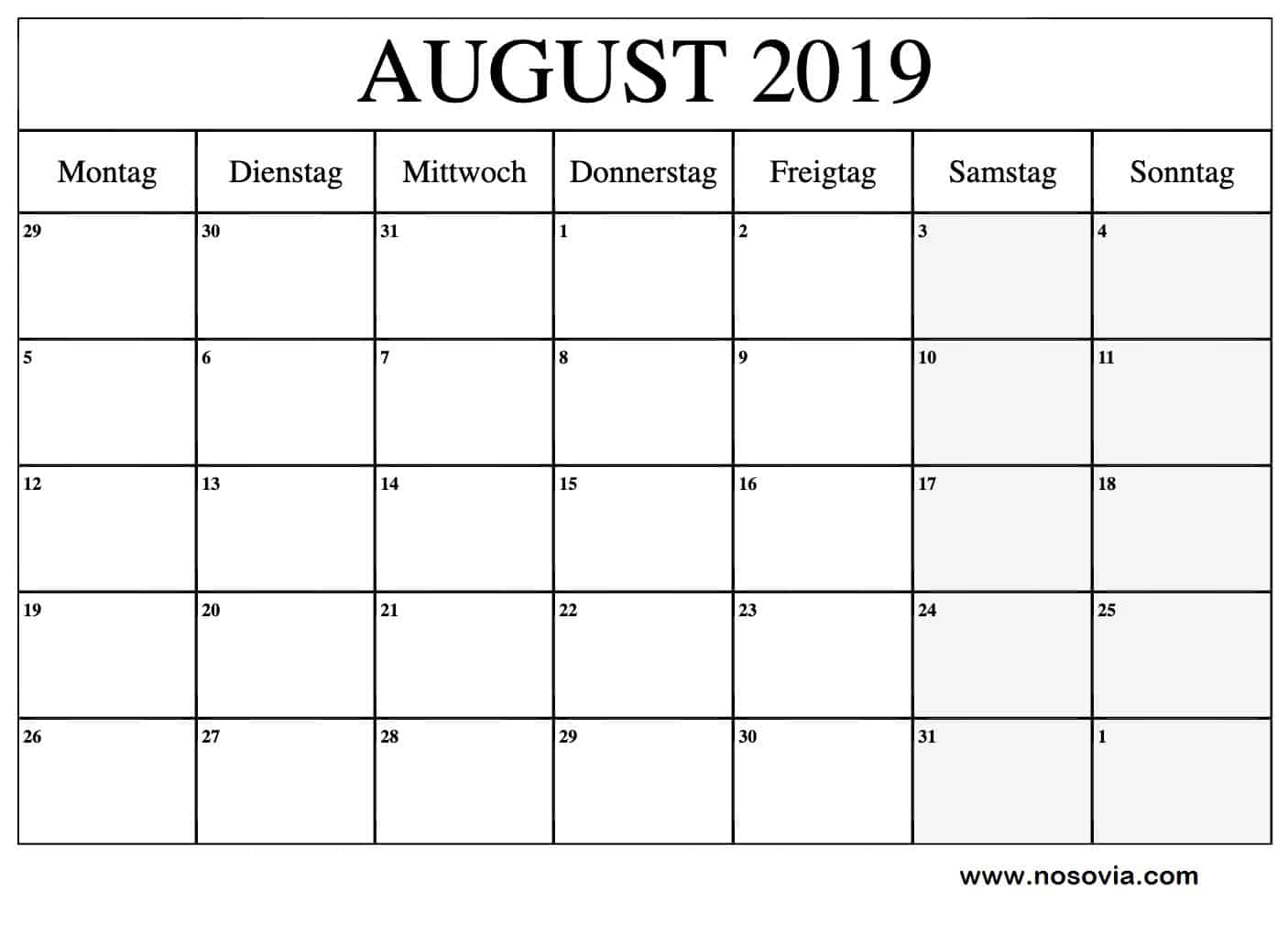 August 2019 Kalender Stile