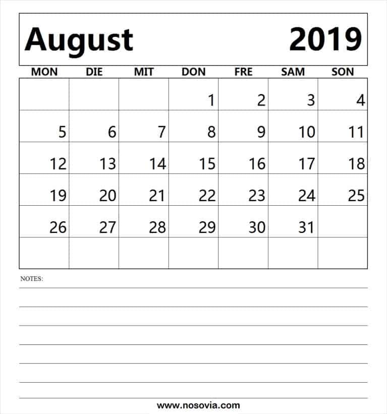 August Kalender 2019 Tabelle