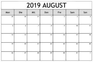 Feiertage Kalender August 2019 Zum Ausdrucken
