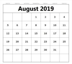 Kalender August 2019 Notizen Zum Ausdrucken