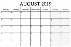 Kalender Stile August 2019 Zum Ausdrucken