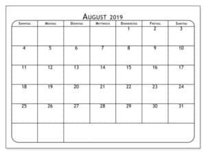 Planer Kalender August 2019 Zum Ausdrucken