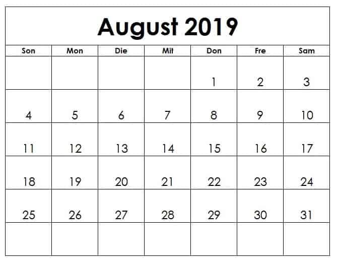 Blatt Kalender August 2019 Zum Ausdrucken