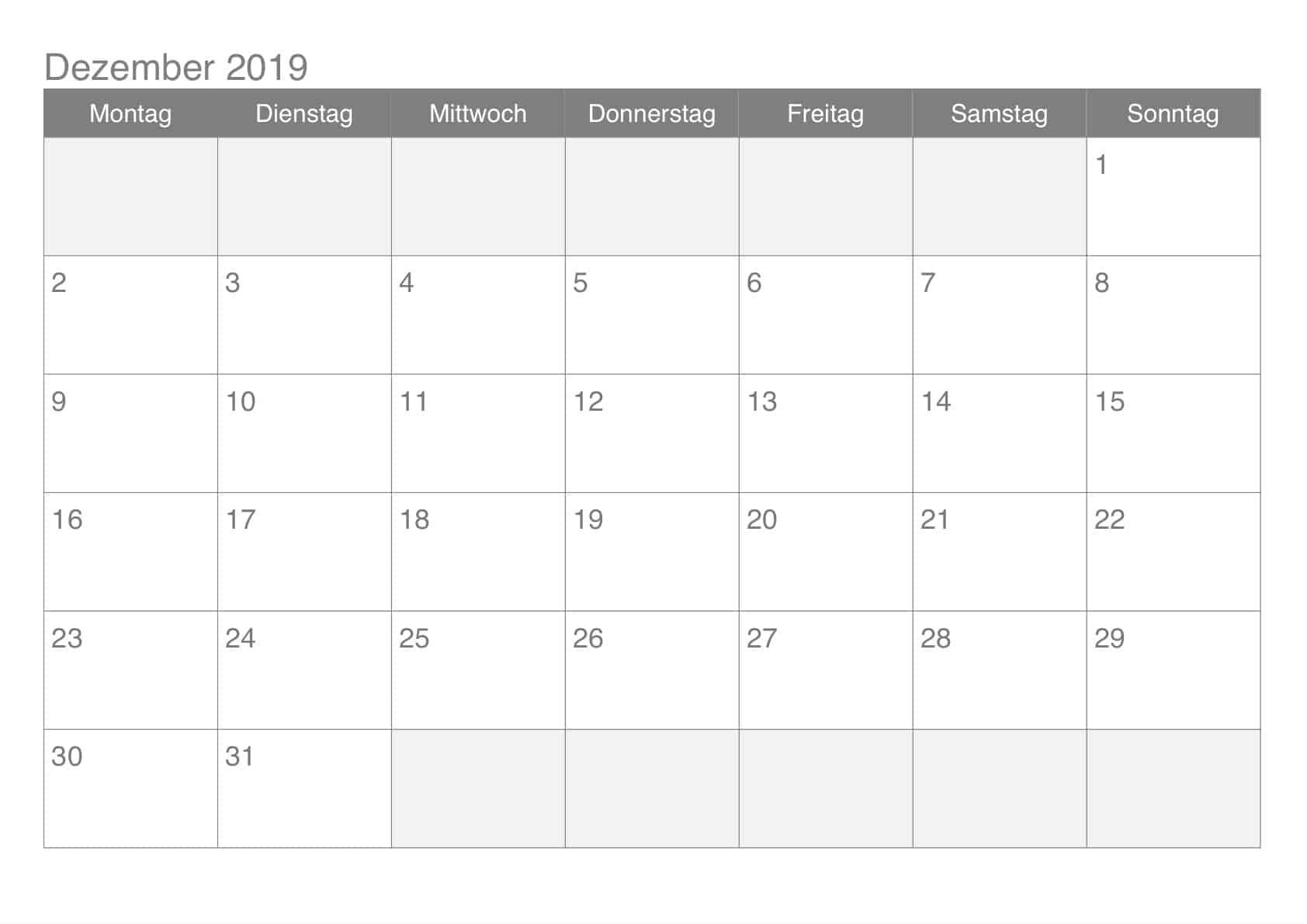 Kalender Monatlich Dezember 2019