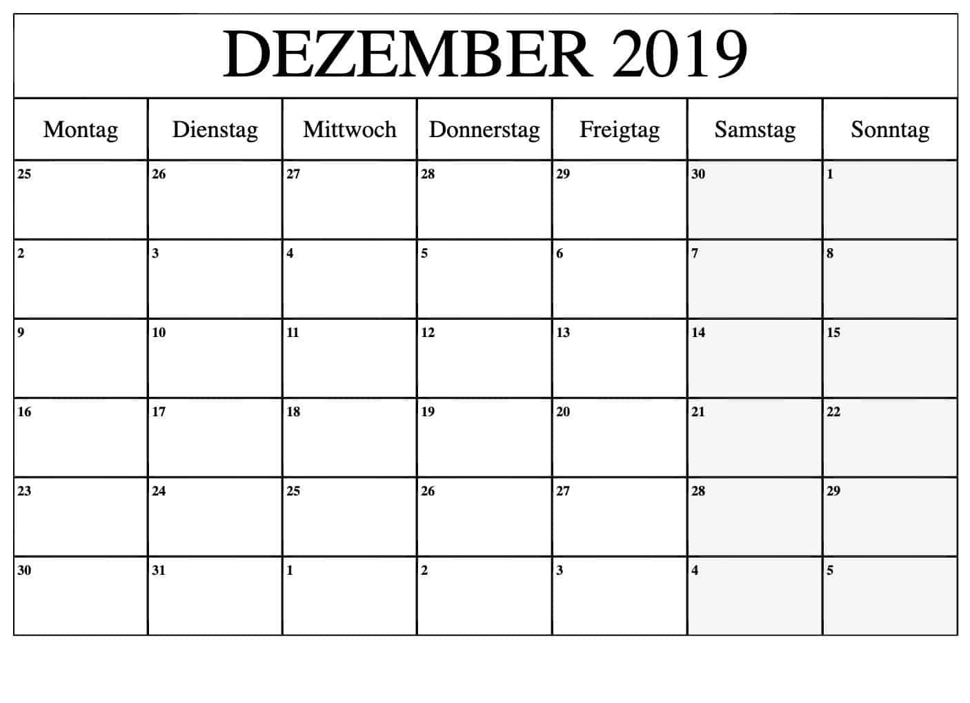 Stile Kalender Dezember 2019