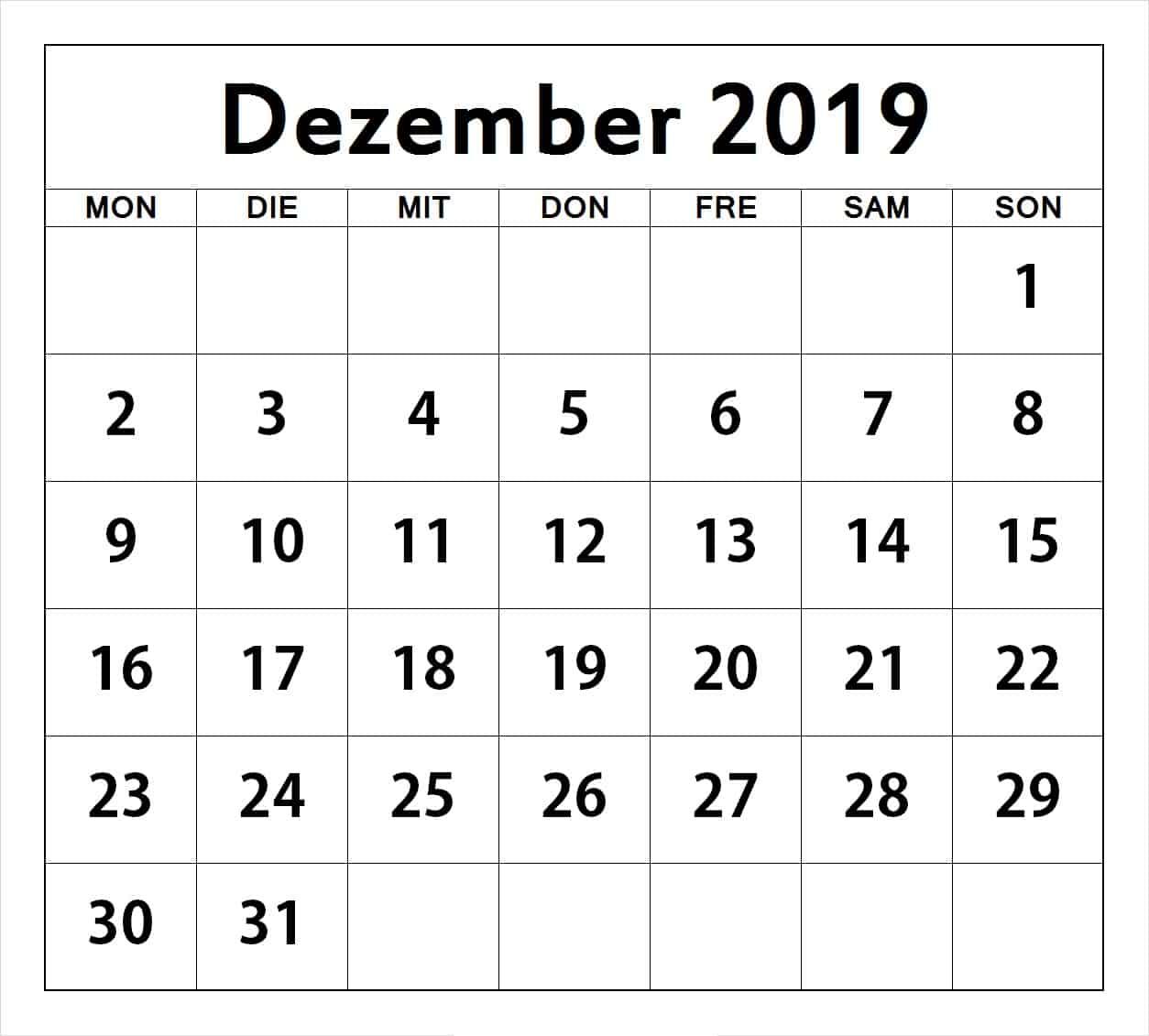 Notizen Kalender Dezember 2019