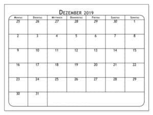 Blatt Kalender Dezember 2019