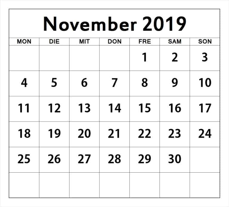 Frei Kalender November 2019