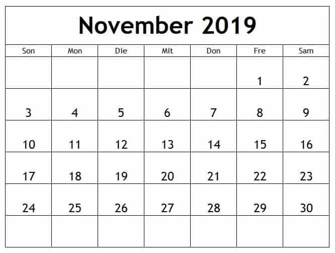 Kalender Feiertage November 2019
