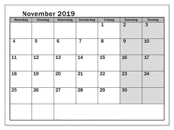 Kalender November 2019 Planer