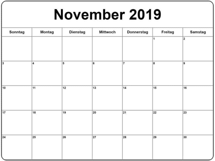 Kalender November 2019 Blatt