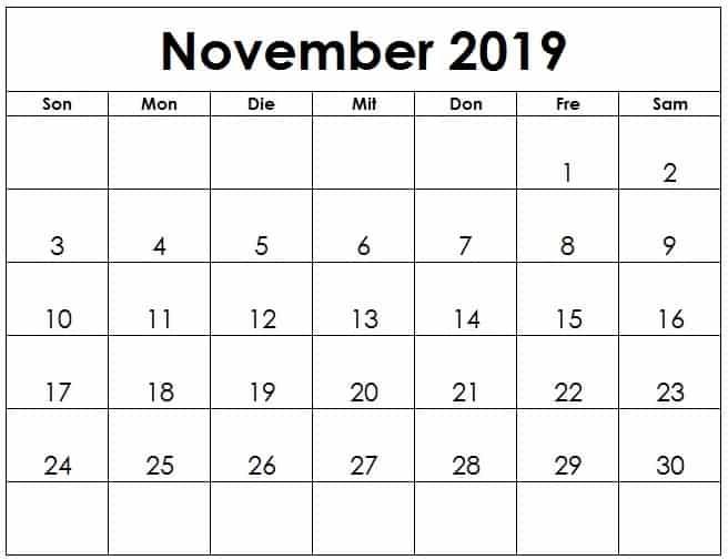 Kalender Monats November 2019