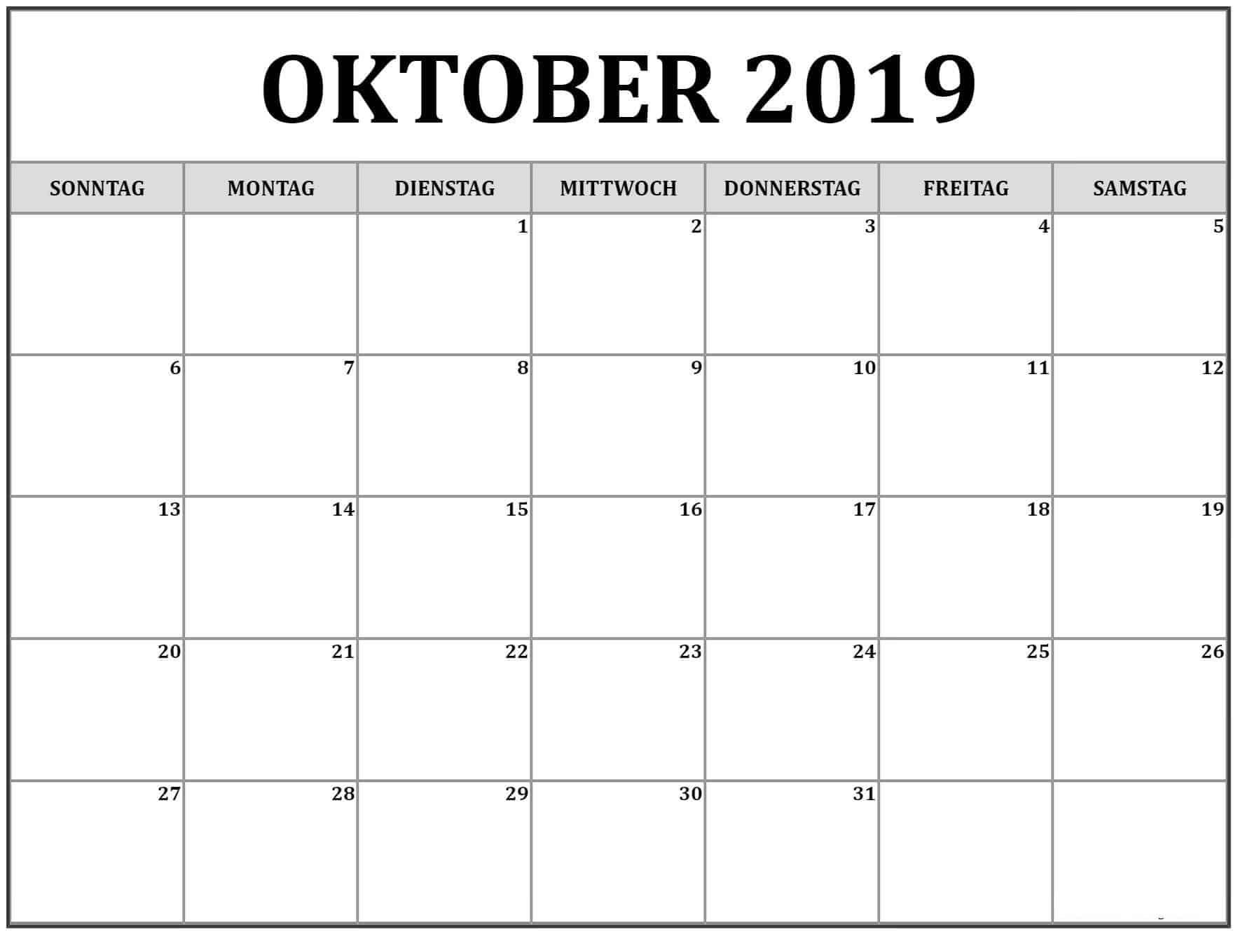 Kalender Oktober 2019 Zeitplan