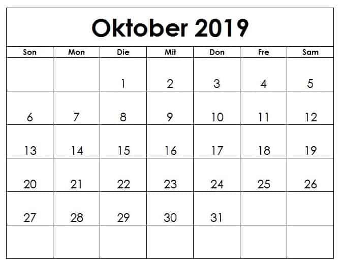 Kalender Oktober 2019 Notizen