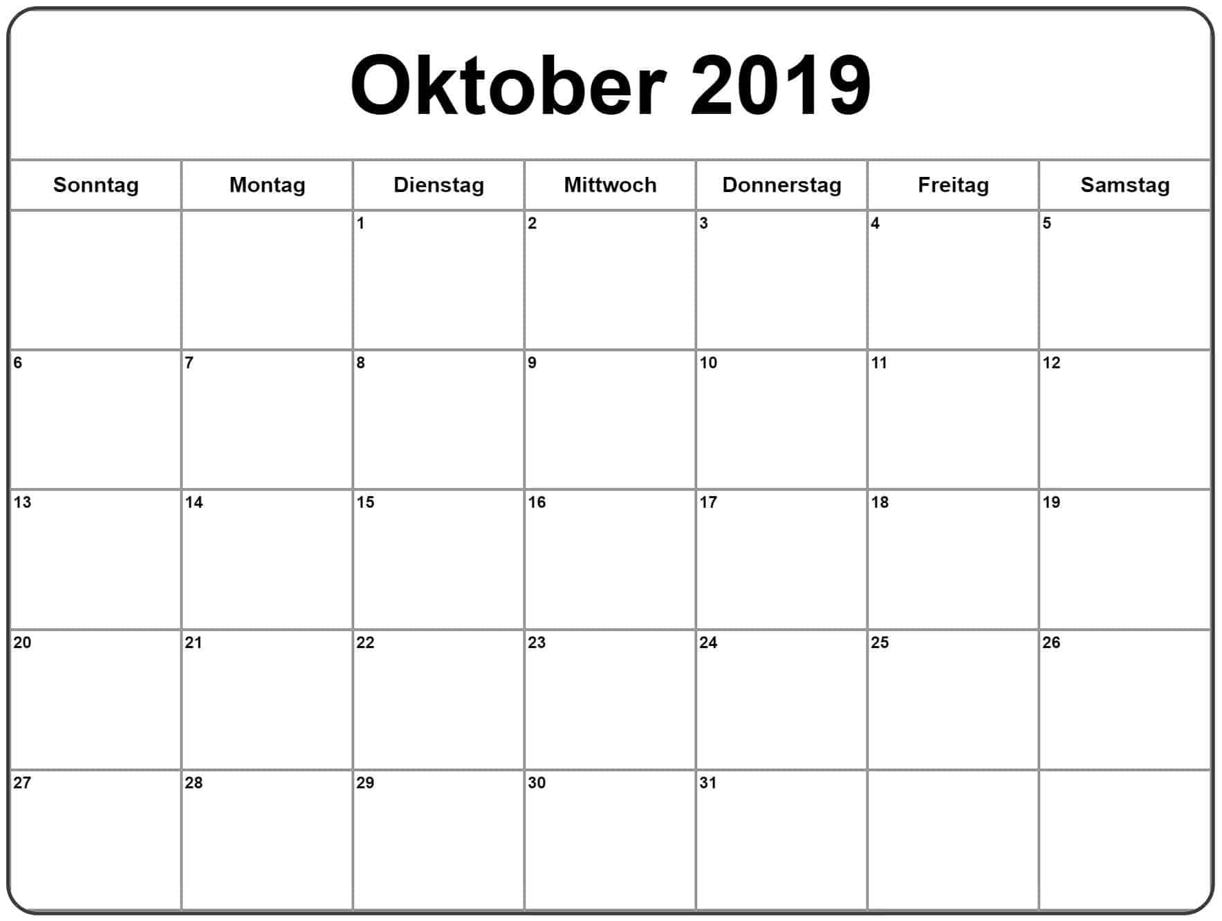 Oktober 2019 Planer Kalender