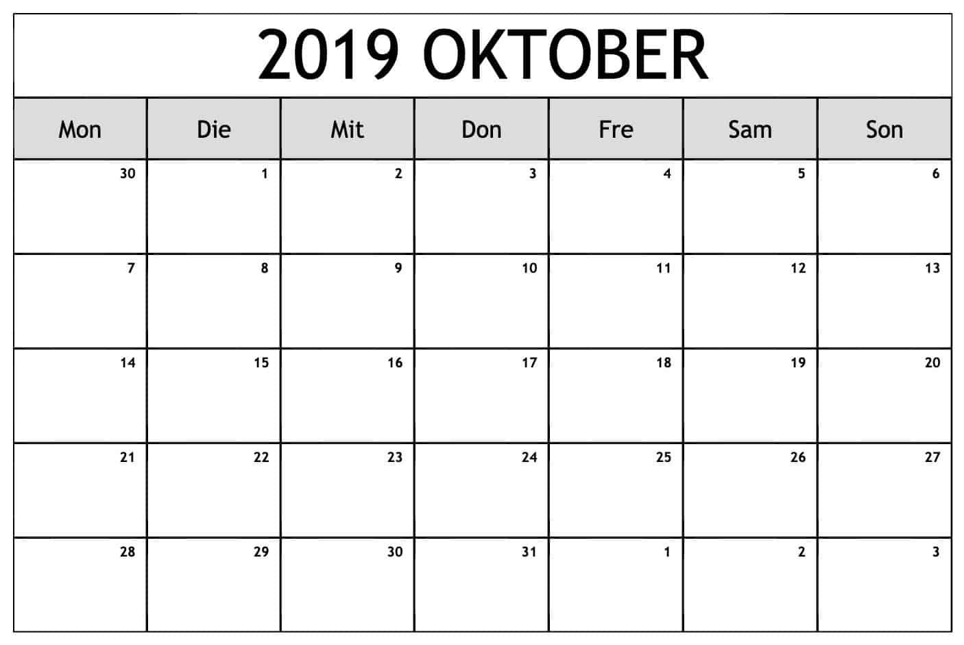Blatt Kalender Oktober 2019