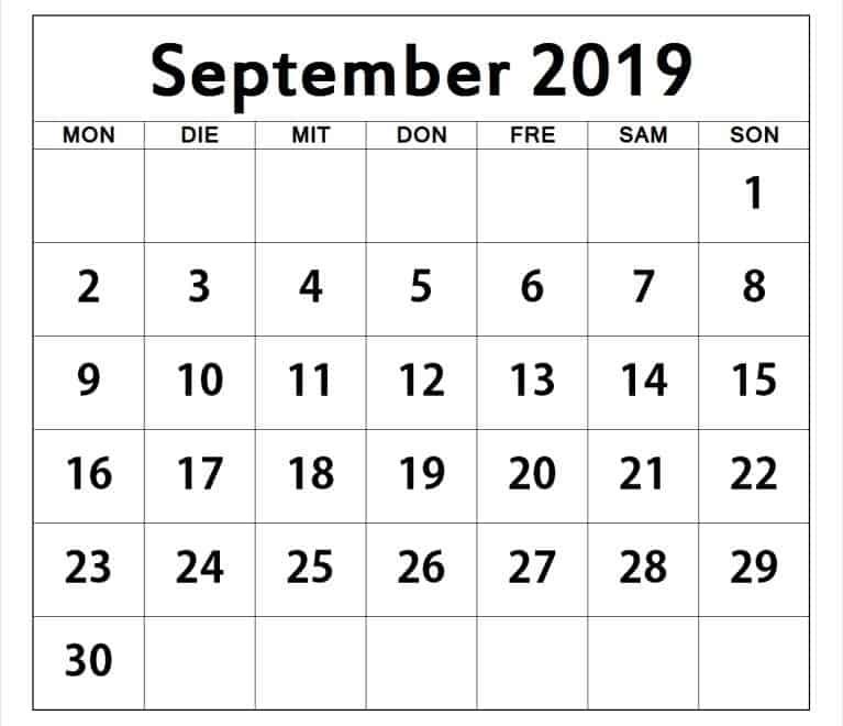 Blatt Kalender September 2019