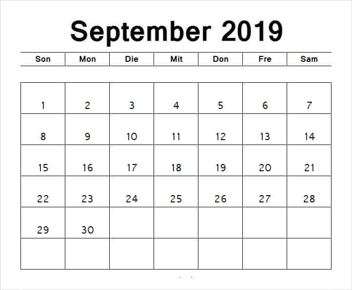September 2019 Kalender Monatlich
