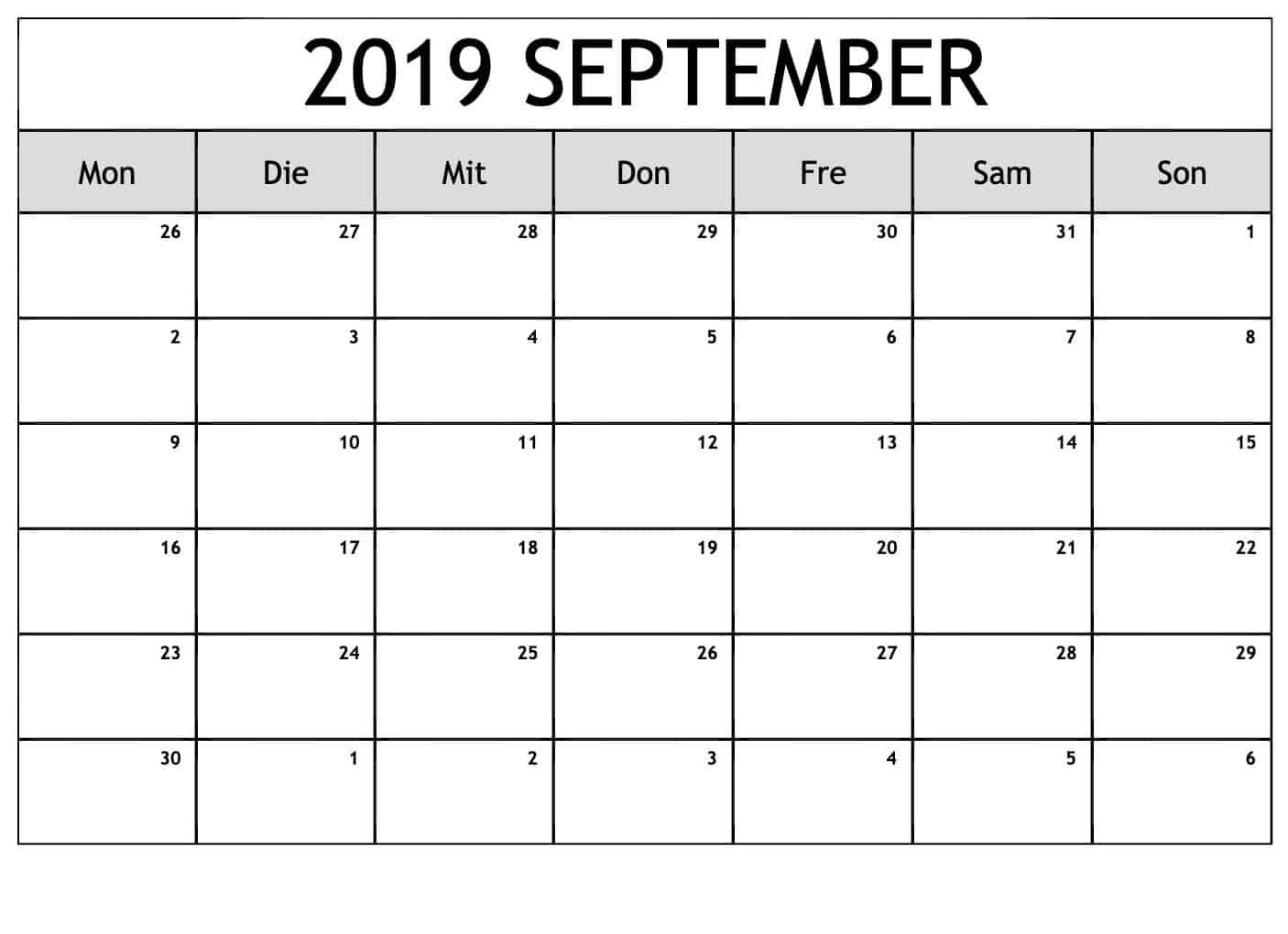 Monats Kalender September 2019
