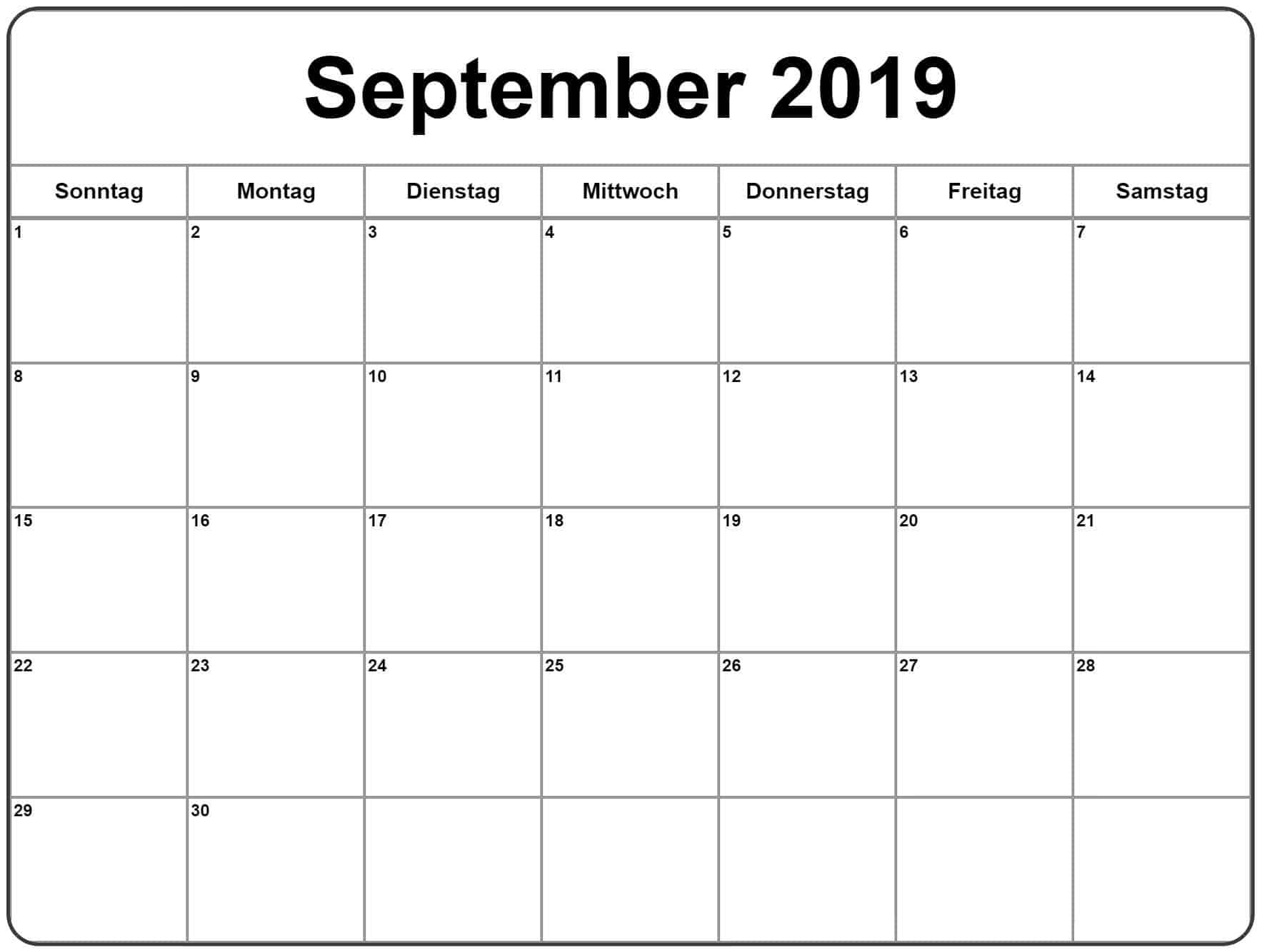 Notizen Kalender September 2019