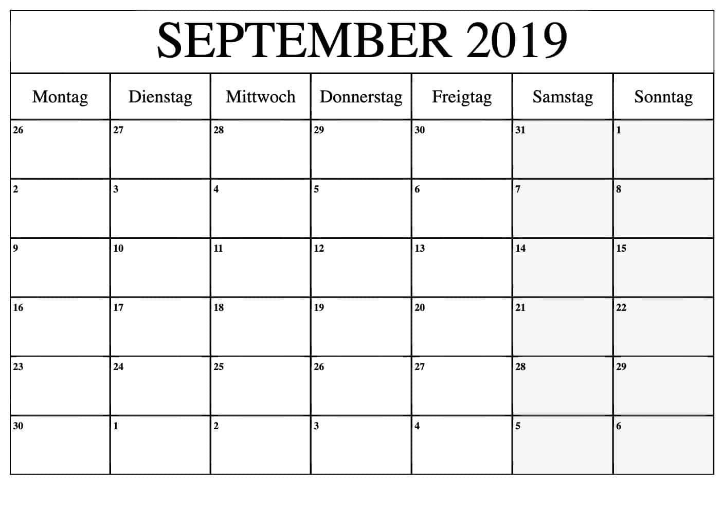 Kalender September 2019 Stile