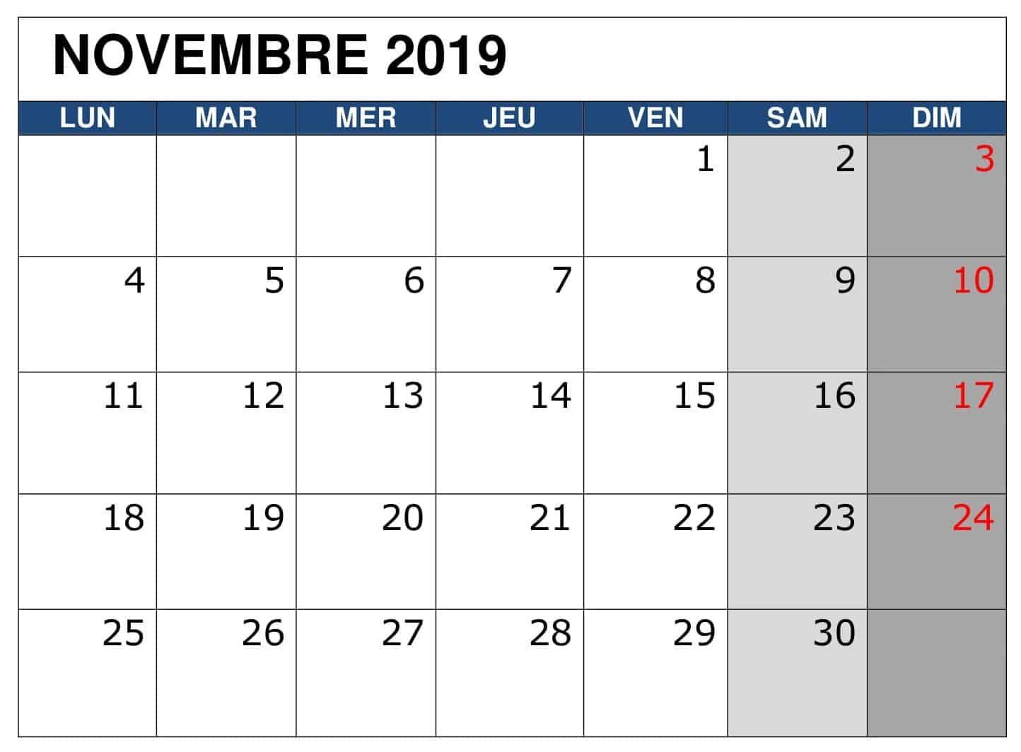 Blanc Calendrier Novembre 2019 PDF