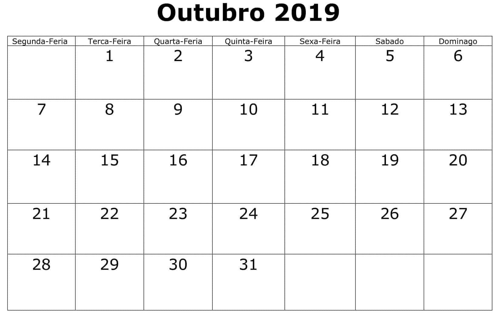 Calendário 2019 Outubro