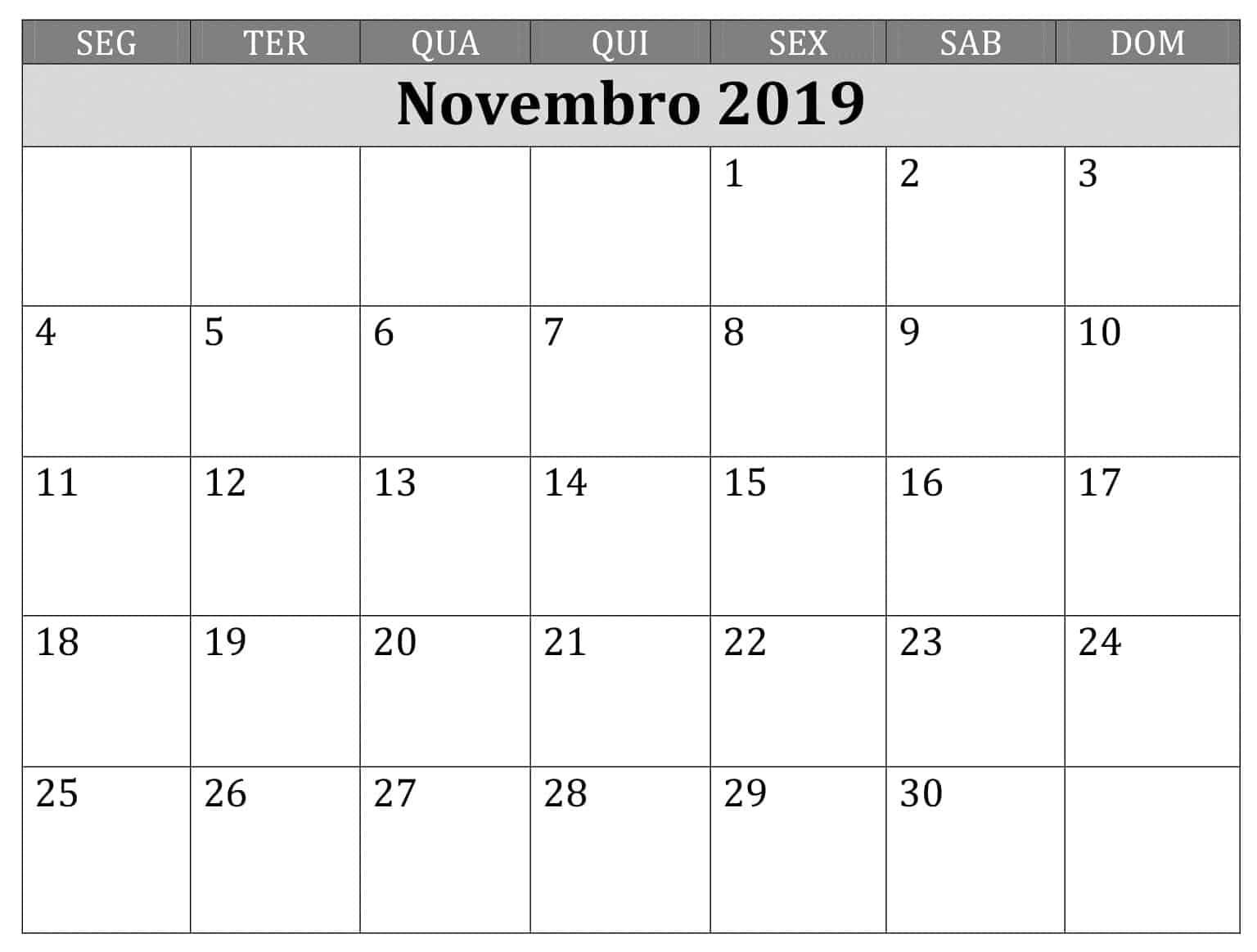 Calendário Novembro 2019 Para Imprimir