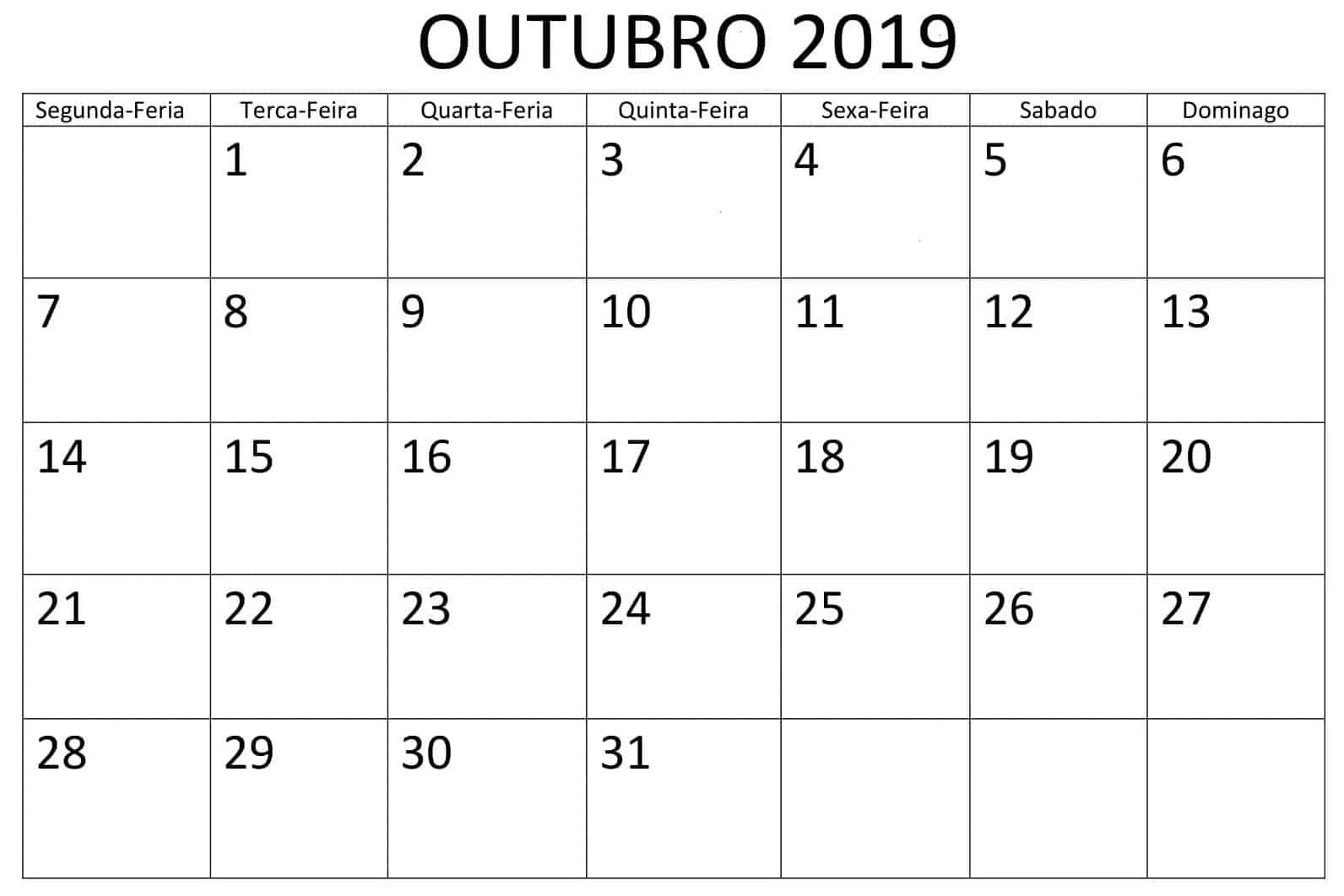 Calendário Outubro 2019 Imprimir