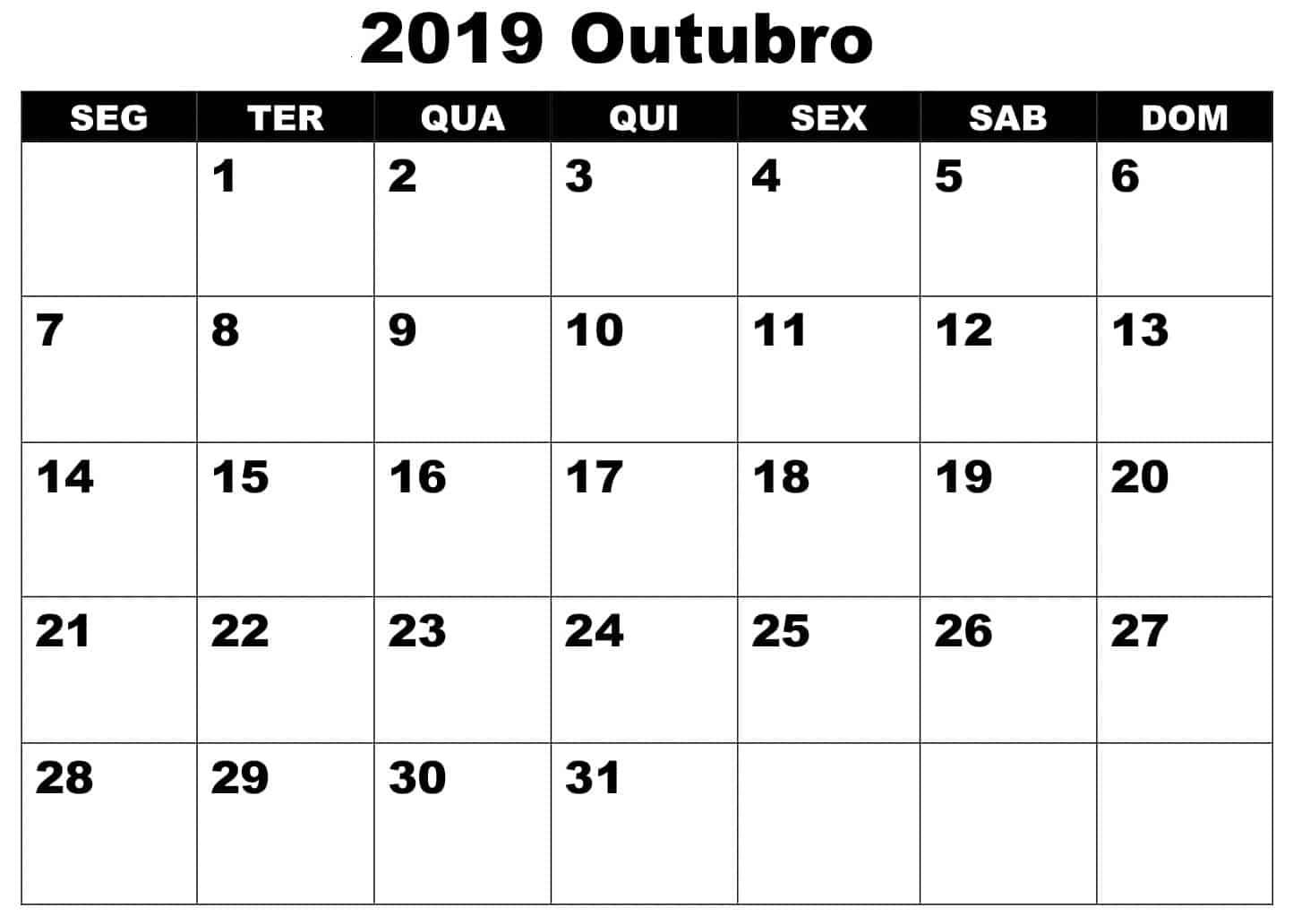 Calendário Outubro 2019