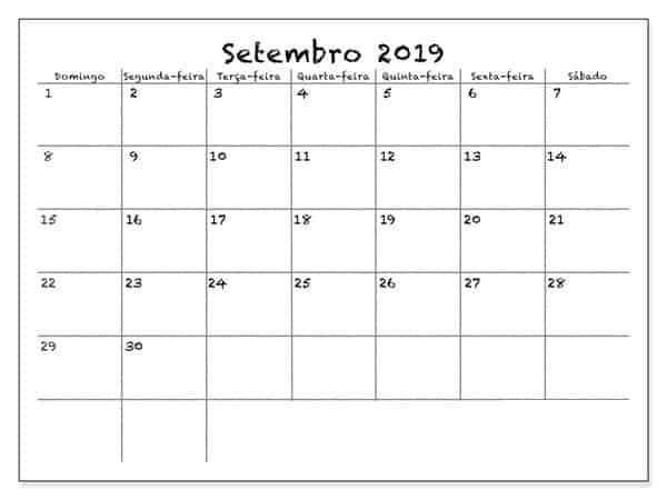 Calendário Setembro 2019 Imprimir