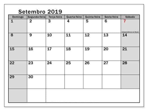 Calendário Setembro 2019 Imprimível Para Imprimir