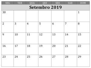 Calendário Editável Setembro 2019 Para Imprimir