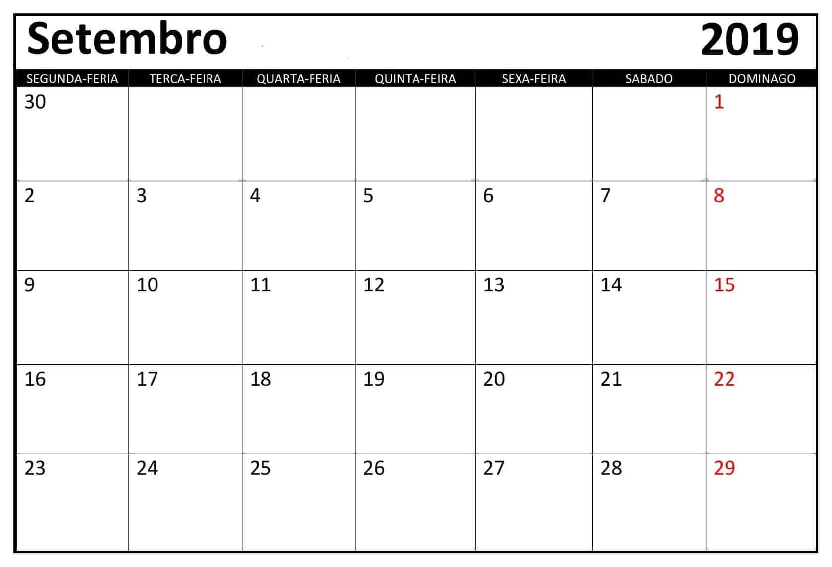 Calendário Setembro 2019 Mesa Para Imprimir