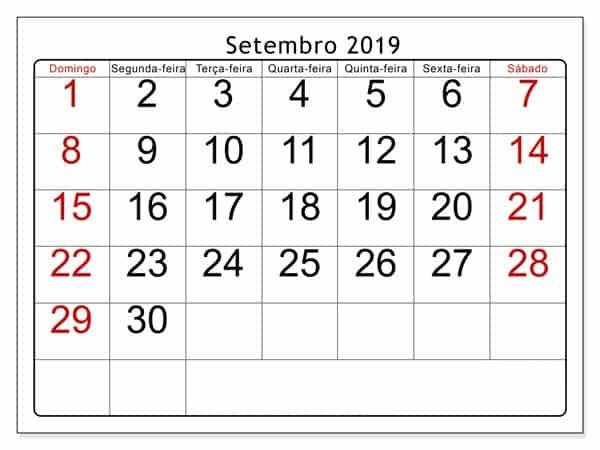 Calendário Setembro 2019 Livre Para Imprimir