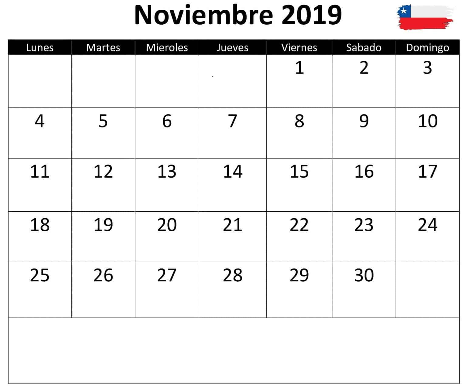 Calendario Noviembre 2019 Chile
