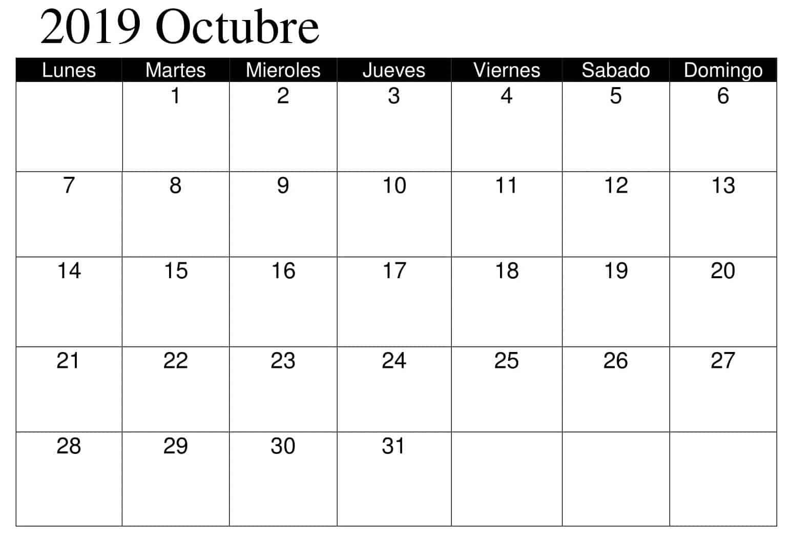 Calendario Octubre 2019 Argentina
