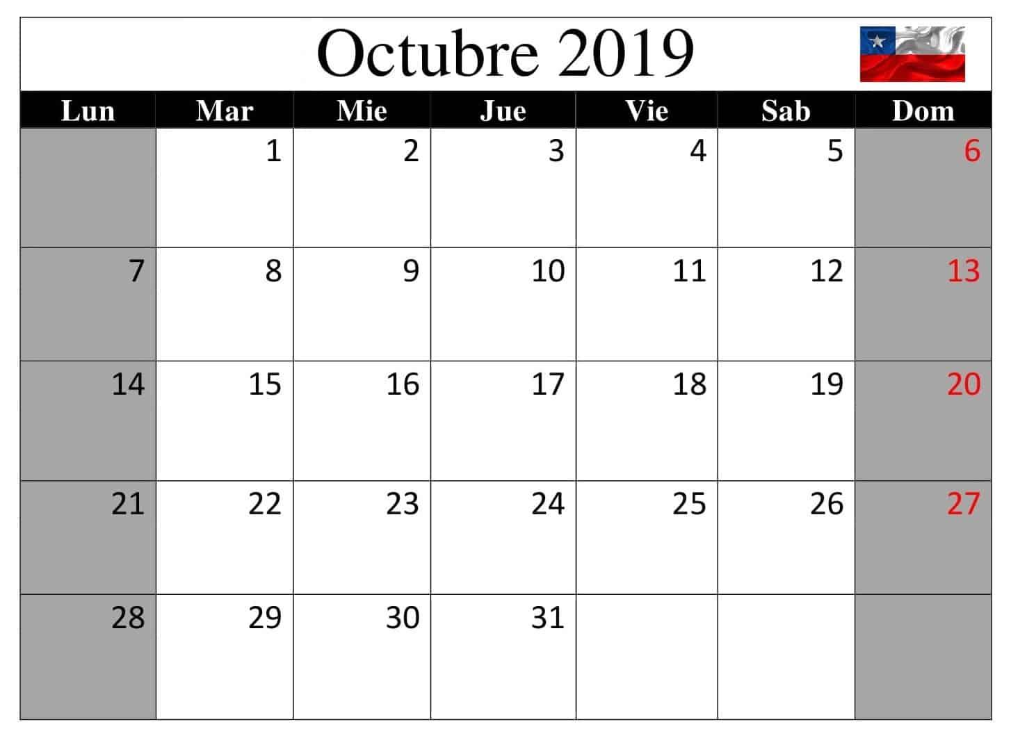Calendario Mes Octubre 2019 Chile
