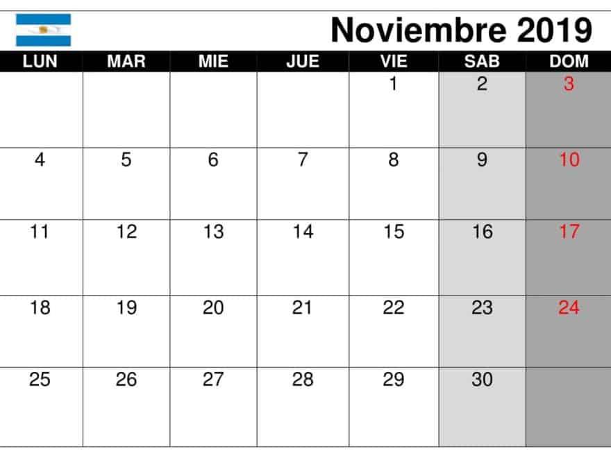 Calendario Noviembre 2019 Argentina