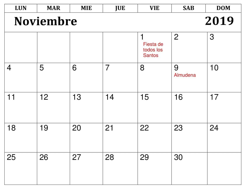 Calendario Noviembre 2019 Con Festivos